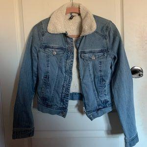 H&M Sherpa cropped denim jacket